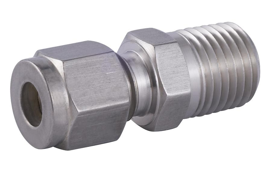 Male connector tube fitting compression twin